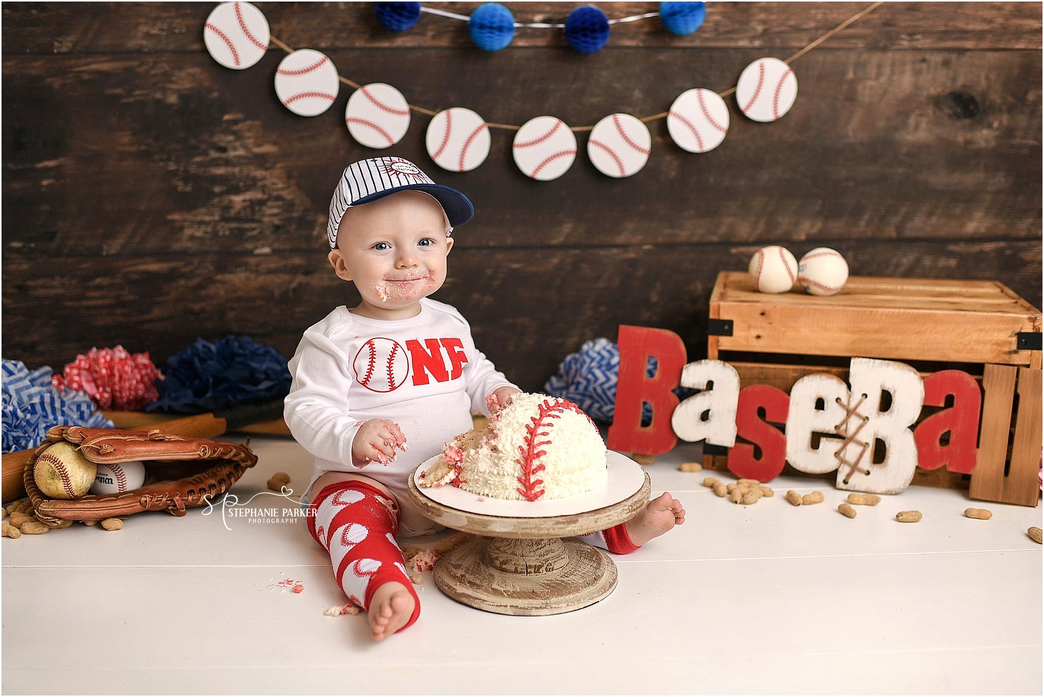 Groovy Isaacs 1St Birthday Session Baseball Cake Smash Newborn Funny Birthday Cards Online Fluifree Goldxyz